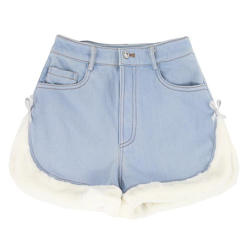 Modakawa Shorts Blue Side Slit / L Slit Bow Plush Button Shorts