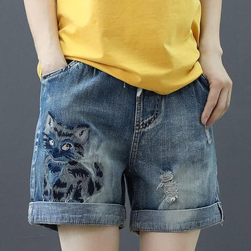 Modakawa Shorts Cat Embroidery Elastic Waist Denim Shorts