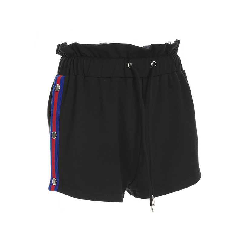 Modakawa Shorts Causal Shorts Drawstrings Metal Button Blue and Red Stripes