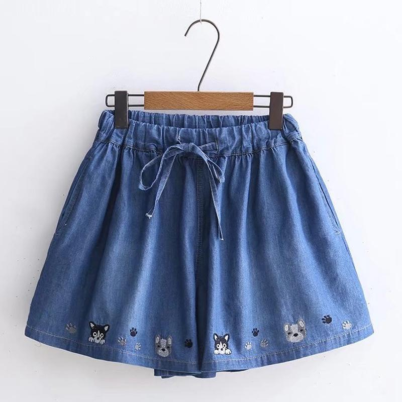Modakawa Shorts Dark Blue Denim Little Dog Embroidery Lace Up Shorts