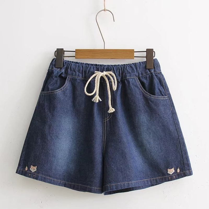 Modakawa Shorts Dark Blue / M Fox Embroidery Denim Cotton Shorts