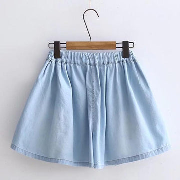 Modakawa Shorts Denim Little Dog Embroidery Lace Up Shorts