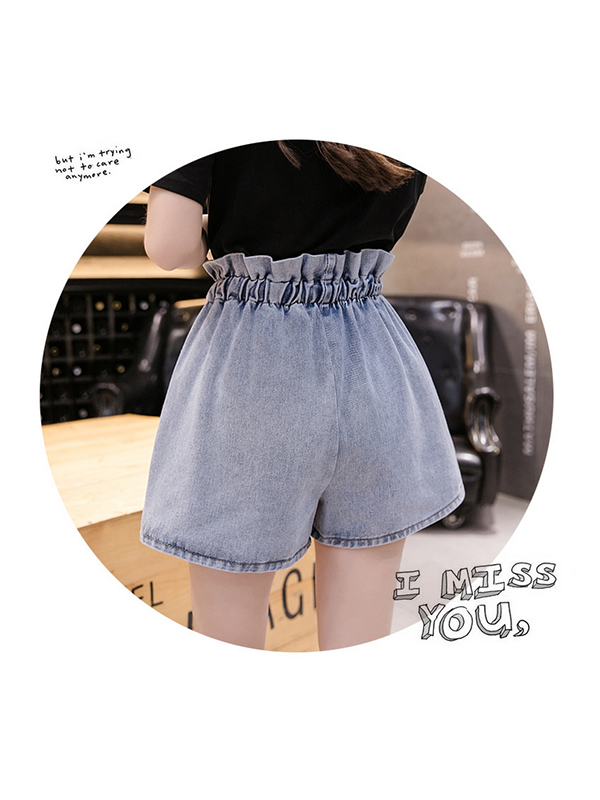 Denim Shorts High Waist A-line Loose Bow Knot Lace up
