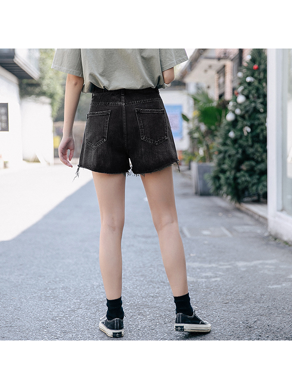 Modakawa Shorts Denim Shorts High Waist Black Irregular Hem Loose