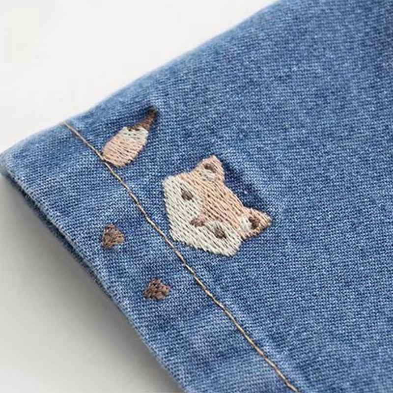 Modakawa Shorts Fox Embroidery Denim Cotton Shorts