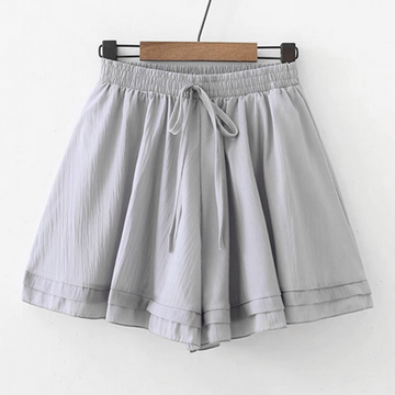 Modakawa Shorts Gray Pure Color Chiffon Shorts