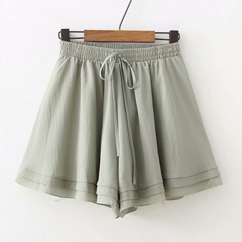 Modakawa Shorts Green Pure Color Chiffon Shorts