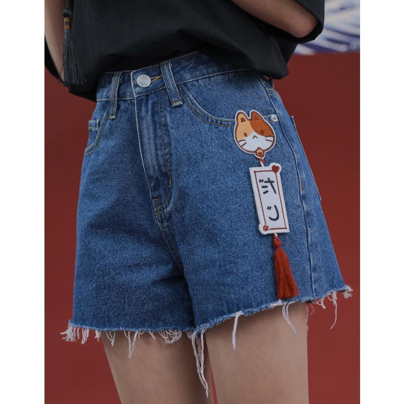 Modakawa Shorts Japanese Cat High Waist A-line Denim Shorts