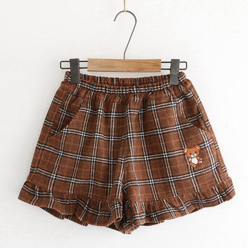 Modakawa Shorts Khaki / M Little Bear Plaid Ruffle Elastic Waist Shorts