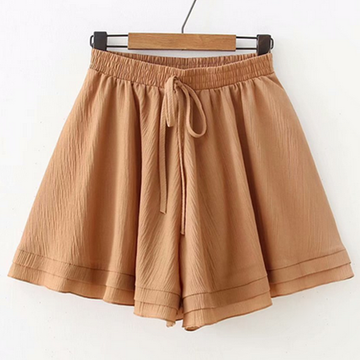 Modakawa Shorts Khaki Pure Color Chiffon Shorts