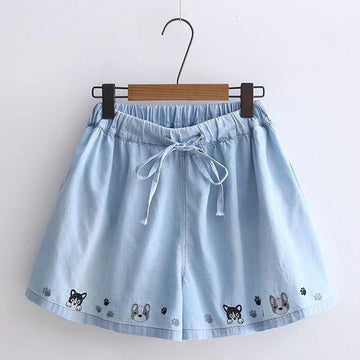 Modakawa Shorts Light Blue Denim Little Dog Embroidery Lace Up Shorts