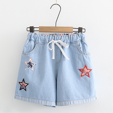 Modakawa Shorts Light Blue / M Denim Shorts Star Loose Lace up Elastic College Style