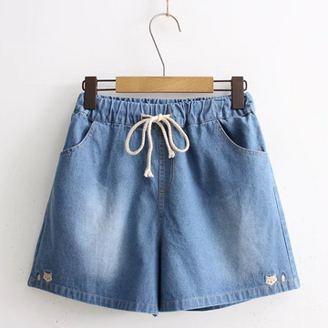 Modakawa Shorts Light Blue / M Fox Embroidery Denim Cotton Shorts