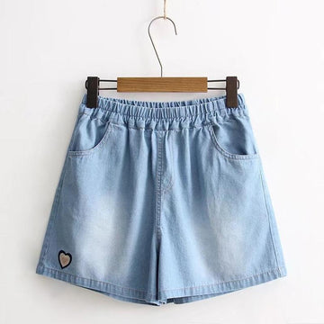 Modakawa Shorts Light Blue / M Love Heart Embroidery Elastic Waist Shorts