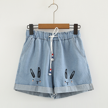 Modakawa Shorts Light Blue / S Casual Denim Drawstrings Shorts Elastic Loose Rabbit