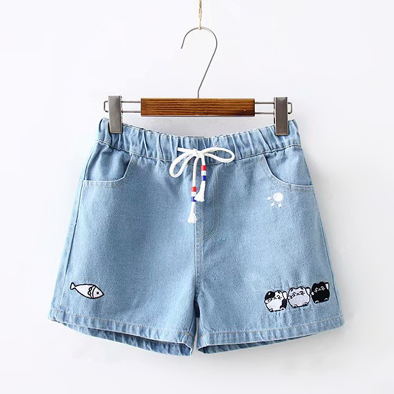 Modakawa Shorts Light Blue / S Cat Fish Embroidery Denim Cotton Shorts