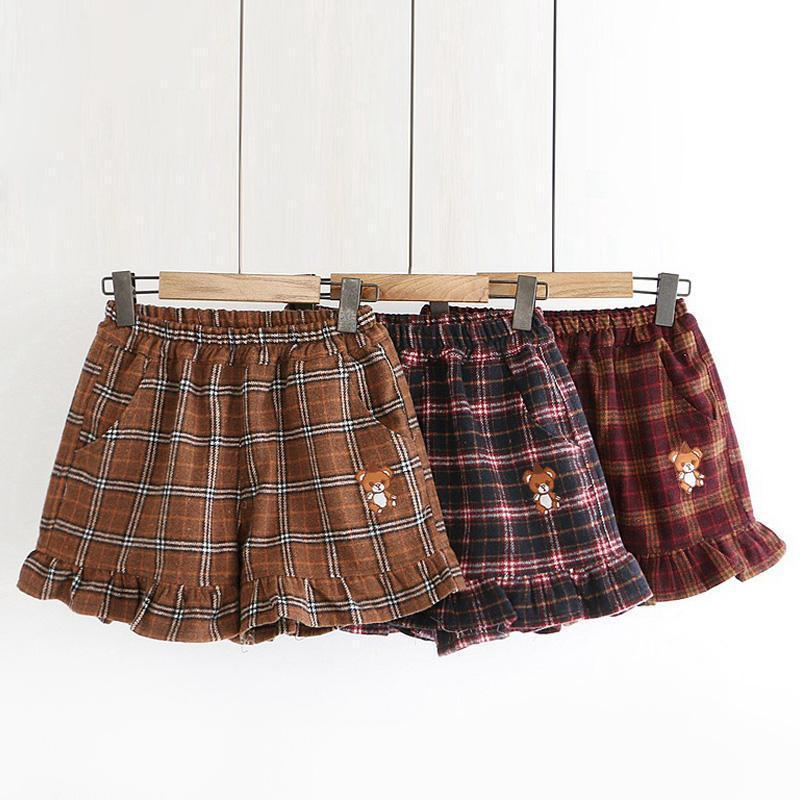 Modakawa Shorts Little Bear Plaid Ruffle Elastic Waist Shorts