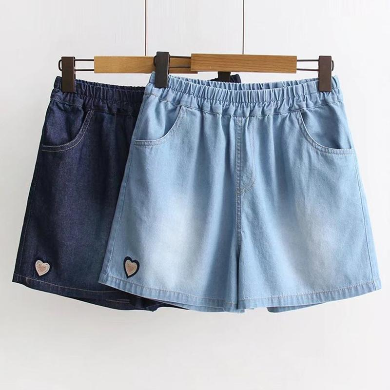 Modakawa Shorts Love Heart Embroidery Elastic Waist Shorts
