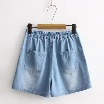 Love Heart Embroidery Elastic Waist Shorts