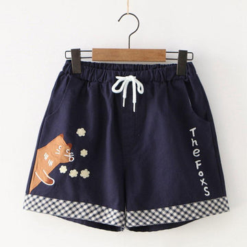 Modakawa Shorts Navy Blue / M Fox Patch Letter Pocket Shorts