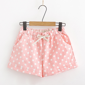 Modakawa Shorts Pink Denim Shorts Polka Dots Casual Elastic Lace up Sweet Girl
