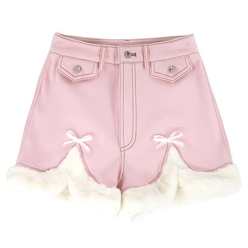 Modakawa Shorts Pink Front Slit / 2XL Slit Bow Plush Button Shorts