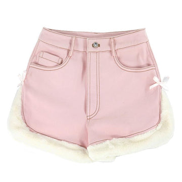 Modakawa Shorts Pink Side Slit / M Slit Bow Plush Button Shorts