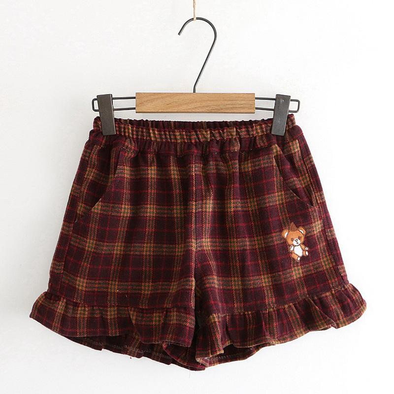 Modakawa Shorts Red / M Little Bear Plaid Ruffle Elastic Waist Shorts