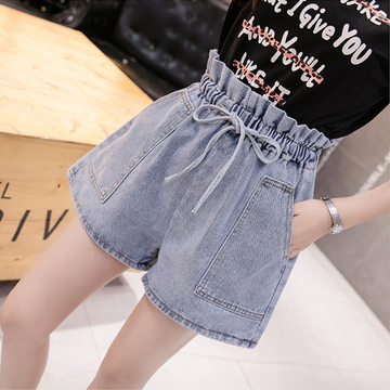 Modakawa Shorts S Denim Shorts High Waist A-line Loose Bow Knot Lace up