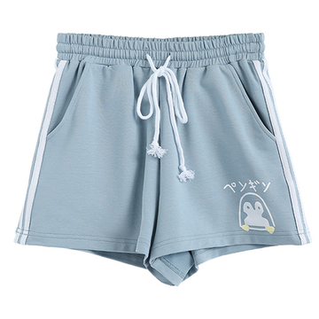 Modakawa Shorts S Penguin Print High Waist Drawstring Shorts