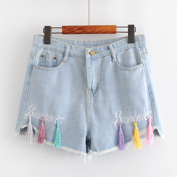 Modakawa Shorts S Tassel Summer Denim Cotton Shorts