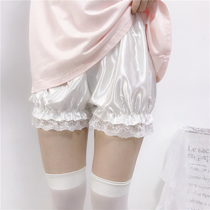 Modakawa Shorts White Lace / One Size Lolita Ruffle Plush Lace Shorts