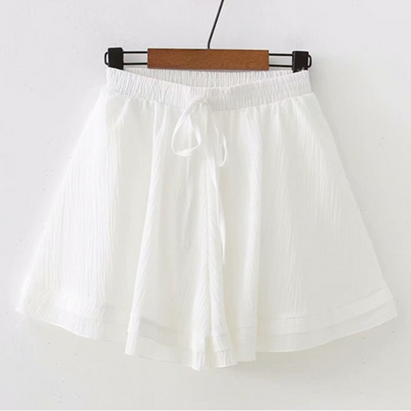 Modakawa Shorts White Pure Color Chiffon Shorts