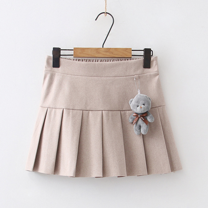 Modakawa Skirt Apricot / One Size Bear Accessory Elastic Waist Pleated Mini Skirt