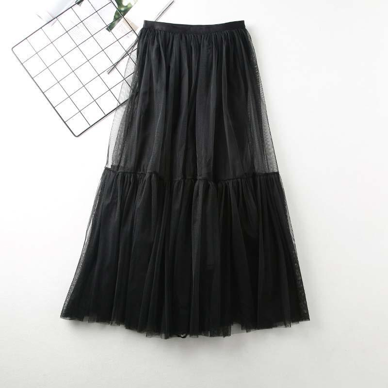 Modakawa Skirt Black High Waist A-Line Tulle Skirt