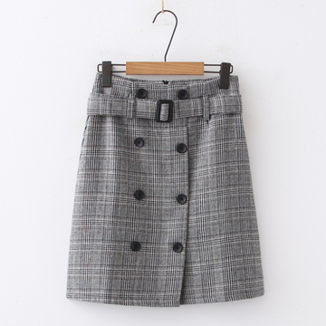 Modakawa Skirt Black / M High Waist Belt Button Plaid Short Skirt