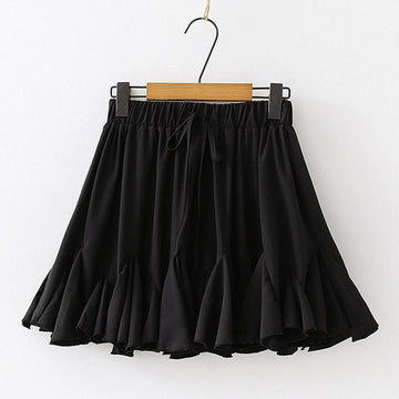 Modakawa Skirt Black / One Size Chiffon Drawstring Pleated Ruffle Pure Color Skirt