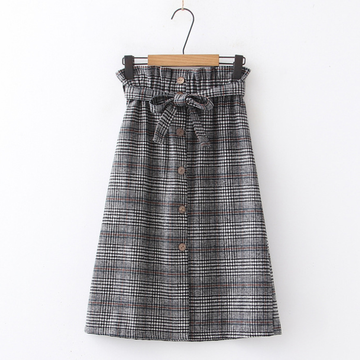 Modakawa Skirt Black / One Size High Waist Bow Plaid Split Skirt
