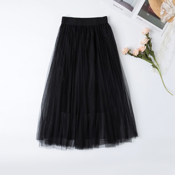Modakawa Skirt Black Pure Color Mesh Pleated Skirt