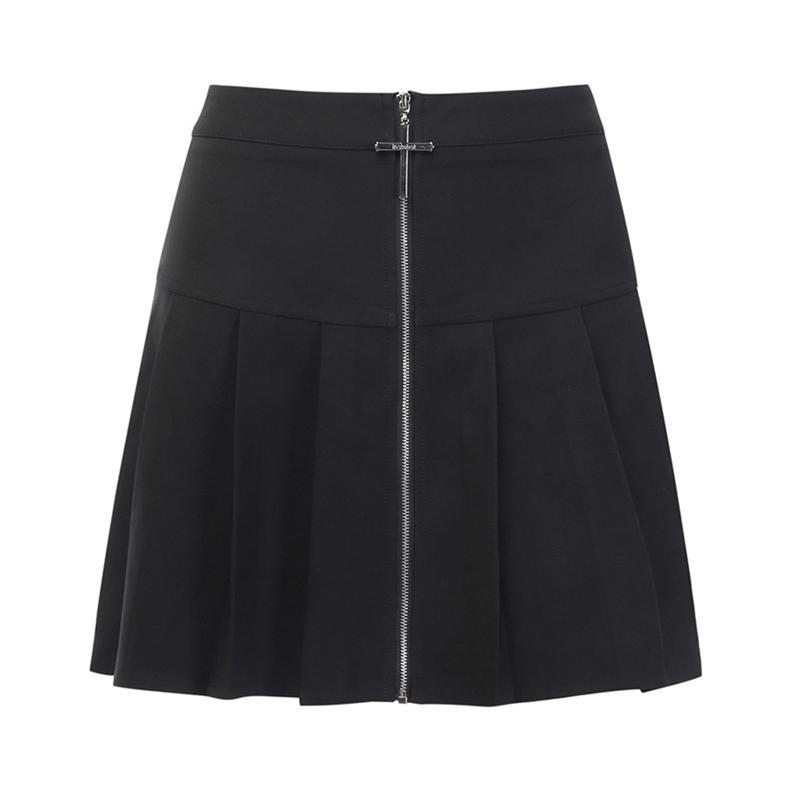 Modakawa Skirt Black / S Gothic Metal Zipper Cross Pleated Skirt