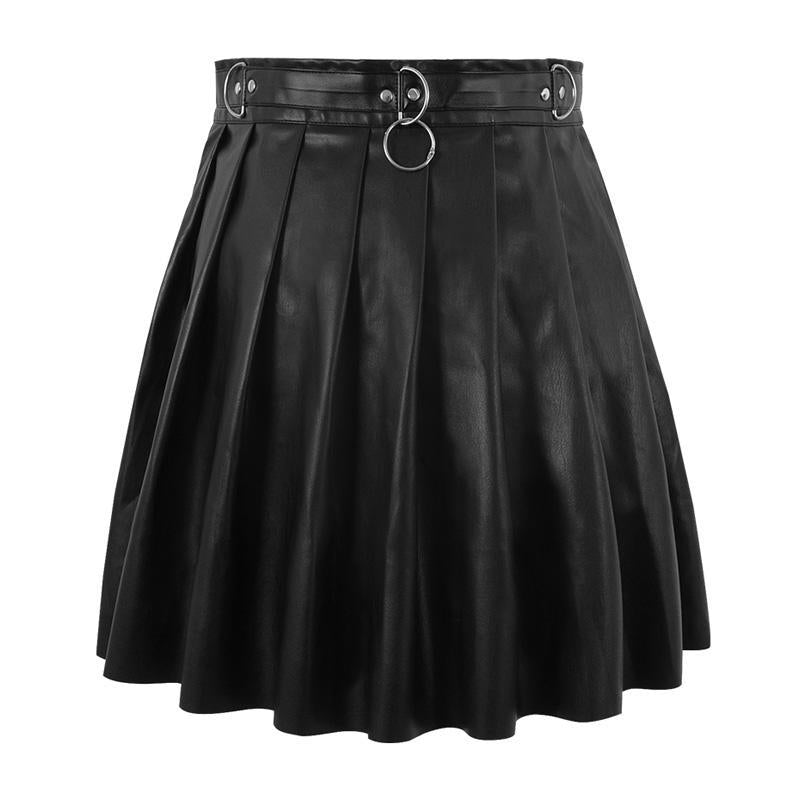 Modakawa Skirt Black / S Gothic PU Ring Zipper A-line Pleated Skirt