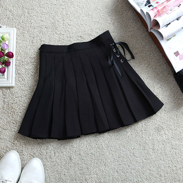 Modakawa Skirt Black / S Pure Color High Waist Pleated Skirt