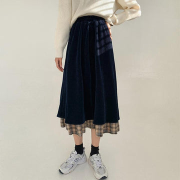 Modakawa Skirt Black / S Vintage Corduroy Plaid High Waist Skirt