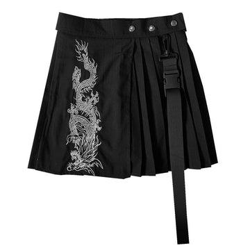 Modakawa Skirt Black / S Vintage Dragon Embroidery High Waist Pleated Skirt