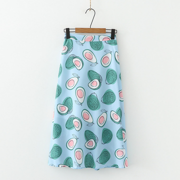 Modakawa Skirt Blue High Waist Avocado Print A-Line Skirt