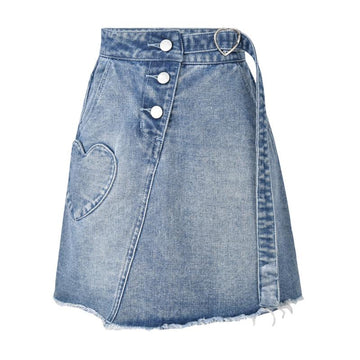Modakawa Skirt Blue / One Size Love Heart Pocket Buckle High Waist Denim Skirt
