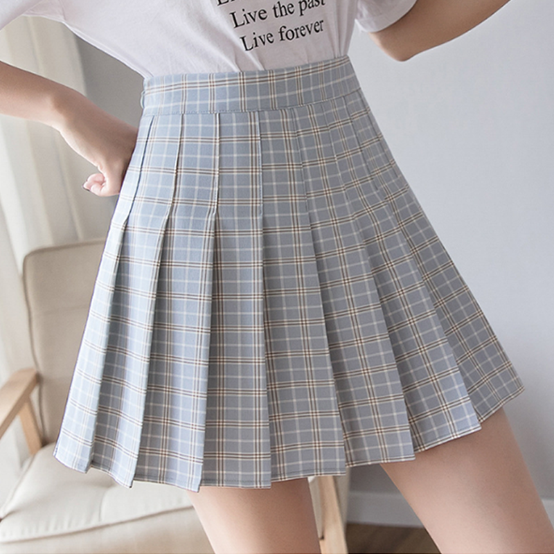 Modakawa Skirt Blue / S High Waist Plaid Pleated Skirt