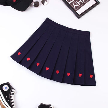 Modakawa Skirt Blue / S Love Heart Embroidery Pleated Mini Skirt