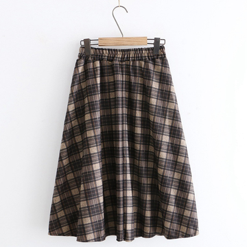 Modakawa Skirt Brown A / One Size Vintage Plaid High Waist Skirt