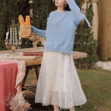Modakawa Skirt Butterfly Embroidery Tulle A-line Skirt
